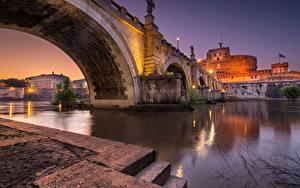 Обои Мост Река Вечер Рим Италия Castel Sant'Angelo bridge город