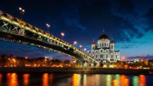 Фото Мост Реки Россия Собор В ночи Cathedral of Christ the Saviour Города