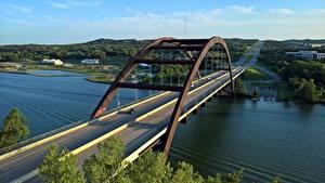 Картинка Мосты Речка США Техас Pennybacker Bridge, Colorado river