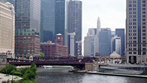 Фотография Мосты Небоскребы США Чикаго город Залив