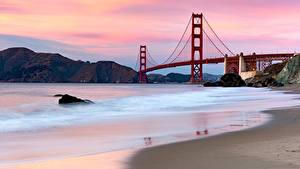 Фотография Мосты США Сан-Франциско Залив Golden Gate Bridge
