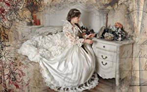 Фото Шатенка Невеста Платье Сидит