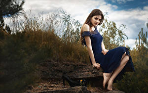 Картинка Шатенка Сидит Платье Рука Ног Размытый фон молодые женщины