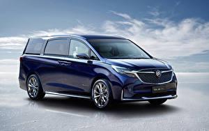 Фотографии Бьюик Минивэн Синие Металлик 2019 GL8 Avenir Concept Автомобили
