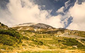 Картинка Болгария Горы Облака Pirin Mountains Todorka Природа