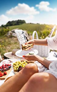 Фотография Бутерброд Сэндвич Пикник Руки Тарелка Размытый фон Пища