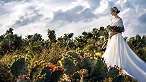 Картинки Кактусы Букеты Свадьбе Невесты Венок Платье молодые женщины