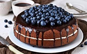 Фото Торты Черника Шоколад Пища