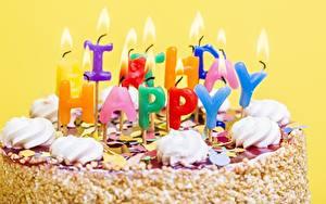Картинки Торты Свечи День рождения Вблизи Еда