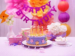 Фотография Торты Свечи Праздники День рождения Продукты питания