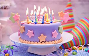 Обои Торты Свечи Праздники День рождения Продукты питания