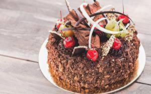 Фотографии Торты Вишня Шоколад Дизайна Пища
