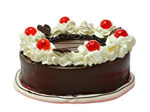 Обои для рабочего стола Торты Шоколад Ягоды Белый фон Дизайн Еда