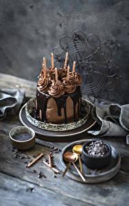 Картинки Торты Шоколад Свечи Доски Дизайн