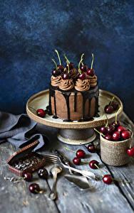 Фото Торты Шоколад Вишня Доски Дизайна