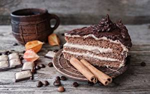 Картинка Торты Шоколад Корица Кусок Еда