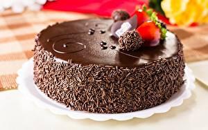 Картинки Торты Шоколад Крупным планом Еда