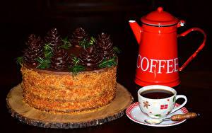 Обои Торты Шоколад Кофе Рождество Чайник Черный фон Чашке