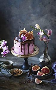 Фотографии Торты Шоколад Инжир Продукты питания
