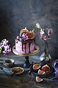 Фотографии Торты Шоколад Инжир