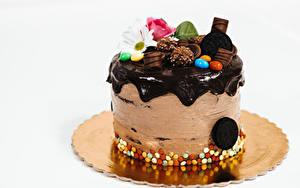 Обои для рабочего стола Торты Шоколад Сером фоне Пища