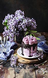 Картинка Торты Шоколад Сирень Натюрморт Доски Дизайн