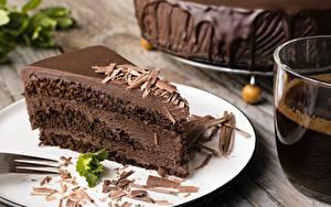 Фотография Торты Шоколад Часть Продукты питания