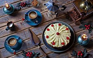 Фотографии Торты Кофе Капучино Накрытия стола Доски Чашка Продукты питания