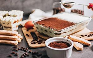 Обои для рабочего стола Торты Кофе Печенье Какао порошок Зерно Tiramisu Еда