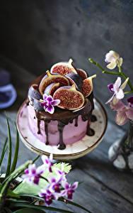 Картинка Торты Инжир Шоколад Пища
