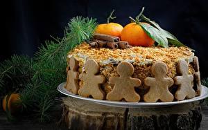Фотография Торты Мандарины Новый год Сладости