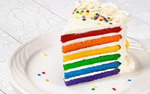 Фотографии Торты Часть Разноцветные Еда