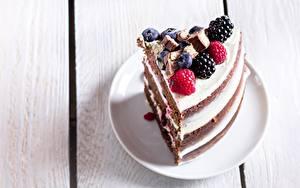 Фото Торты Малина Ежевика Часть Пища