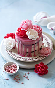 Фотография Торты Розы Сладости Тарелка Дизайна