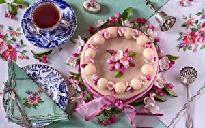 Фотографии Торты Чай Чашке Дизайна Тарелка Ложки