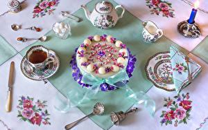Картинки Торты Чай Чайник Нож Свечи Сервировка Дизайн Чашке Тарелке Сахар Ложки