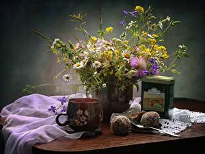 Обои Ромашка Чай Сладкая еда Чашка Продукты питания Цветы