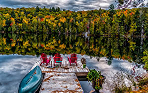 Фото Канада Леса Озеро Причалы Лодки Отражение Ontario Природа