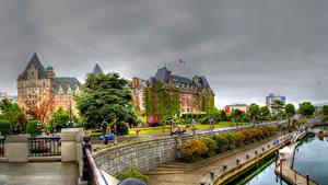 Картинки Канада Дома Пирсы Улица HDRI Victoria British Columbia Города