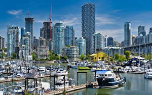 Картинка Канада Здания Пристань Лодки Яхта Ванкувер Burrard Marina