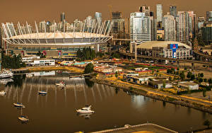 Фото Канада Дома Пристань Ванкувер Залив Города