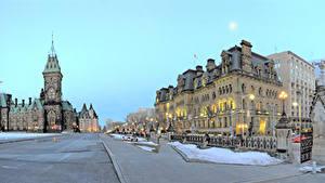 Картинки Канада Здания Улиц Уличные фонари Ottawa Ontario