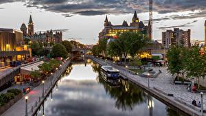 Фото Канада Дома Речные суда Набережная Уличные фонари Ottawa Города