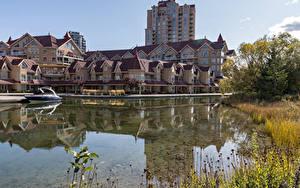 Фото Канада Здания Река Пирсы Катера Kelowna
