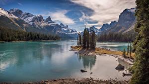 Фотография Канада Горы Озеро Пейзаж Lake Maligne, ALberta Природа