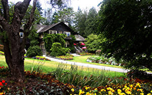 Фото Канада Парк Здания Ванкувер Деревья Кусты Stanley Park
