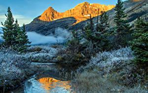 Картинка Канада Парк Гора Зима Пейзаж Банф Ель Ручей Природа