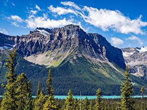 Обои для рабочего стола Канада Парки Горы Озеро Банф Природа