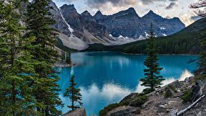 Фото Канада Парки Горы Озеро Деревьев Банф Moraine Lake, Alberta