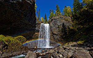 Картинки Канада Парк Камень Небо Водопады Утес Радуги Wells Gray Park, Moul Falls
